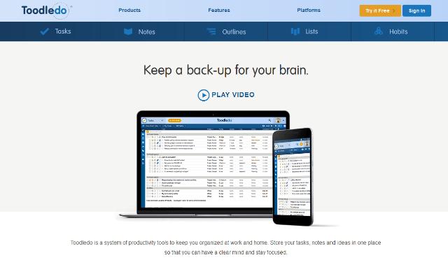 Toodledo online task management tools